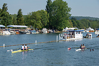 """Henley on Thames, United Kingdom, 3rd July 2018, Saturday,  """"Henley Royal Regatta"""",  Heat of """"The Men's Doble Sculls Challenge Cup, Left GBR M2X, Angus GROOM and Jack BEAUMONT, Leander Club, and NOR M2X, Henley Reach, River Thames, Thames Valley, England, UK."""