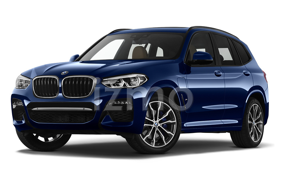 Stock pictures of low aggressive front three quarter view of 2020 BMW X3 M-Sport 5 Door SUV Low Aggressive