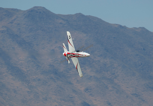 Rick Vandam from Reno flies his jet during the National Championship Air Races in Reno, Nevada on Sunday, Sept. 17, 2017.