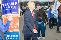 Republican presidential candidate and former Massachusetts governor Bill Weld arrives to greet voters outside the Holy Name Parish Hall polling place as people arrive to vote in the Massachusetts presidential primary on Super Tuesday in West Roxbury, Massachusetts, on Tue., March 3, 2020. Weld is the lone Republican challenger to incumbent US President Donald Trump, and has fared poorly in early primaries, winning only a single delegate in Iowa. As Weld arrived, a group of ardent Trump supporters heckled him.