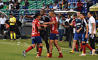 MONTERÍA - COLOMBIA ,20-10-2018:German Cano  jugador del Independiente Medellín celebra su gol contra Jaguares de Córdoba durante partido por la fecha 16 de la Liga Águila II 2018 jugado en el estadio Municipal Jaraguay de Montería . / German Cano player of Independiente Medellin celebrares his goal agaisnt Jaguares of Cordoba during the match for the date 16 of the Liga Aguila II 2018 played at Municipal Jaraguay Satdium in Monteria City . Photo: VizzorImage /Andrés Felipe López  / Contribuidor.