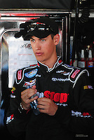 May 30, 2008; Dover, DE, USA; Nascar Nationwide Series driver Joey Logano during practice for the Heluva Good 200 at the Dover International Speedway. Mandatory Credit: Mark J. Rebilas-US PRESSWIRE