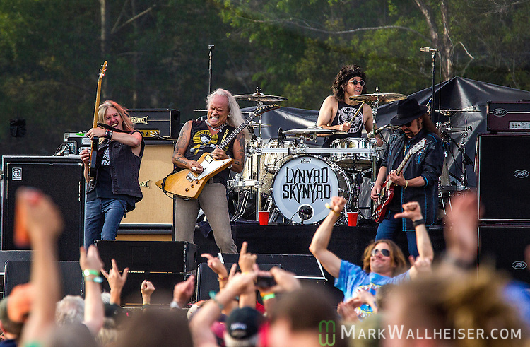Lynyrd Skynyrd closes out therir set Friday at the Wanee Festival at the Spirit of the Swanee campground in Live Oak, Florida  April 11, 2014.