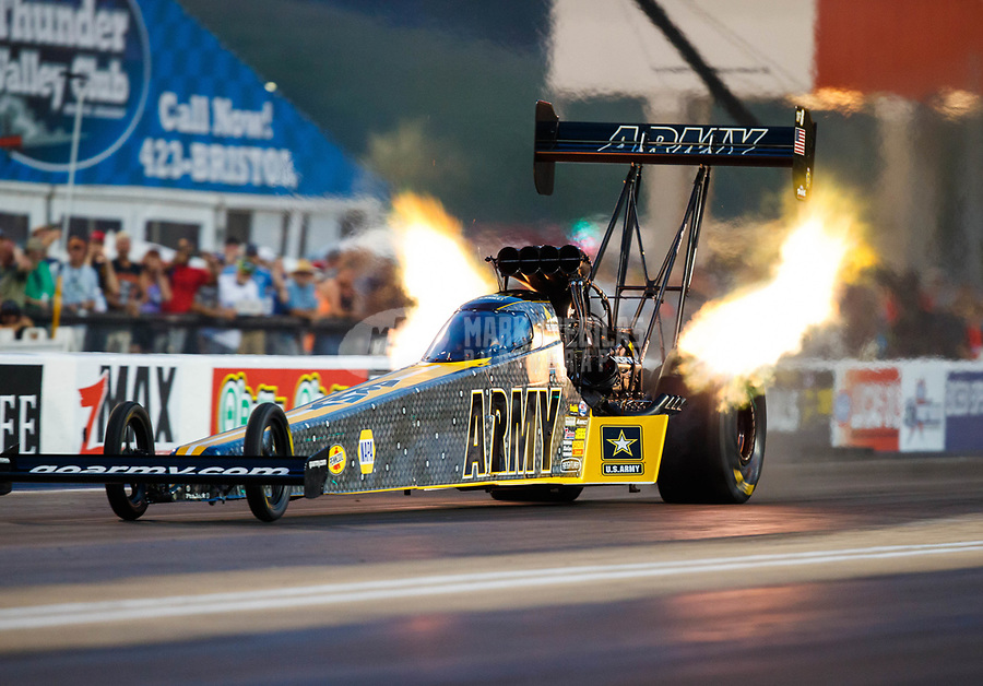 Jun 16, 2017; Bristol, TN, USA; NHRA top fuel driver Tony Schumacher during qualifying for the Thunder Valley Nationals at Bristol Dragway. Mandatory Credit: Mark J. Rebilas-USA TODAY Sports