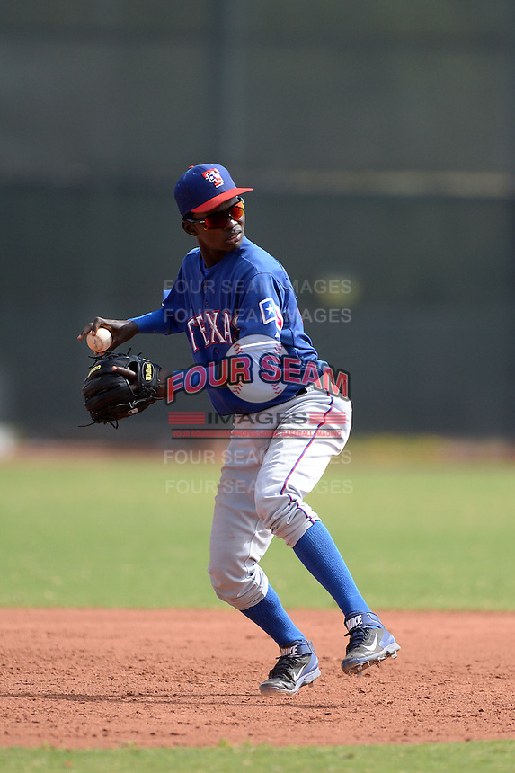 Texas Rangers shortstop Michael De Leon (94) during an Instructional League game against the NC Dinos on October 9, 2013 at Surprise Stadium Training Complex in Surprise, Arizona.  (Mike Janes/Four Seam Images)