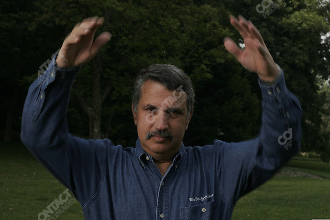©2005 David Burnett / Contact Press Images.July 11 2005.Washington DC   ..New York TImes columnist Tom Friedman, at his home in Bethesda, MD, just outside Washington DC