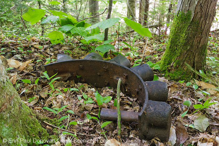 Pemigewasset Wilderness - Artifact on the side of Bondcliff Trail (formerly the Wilderness Trail) in Lincoln, New Hampshire USA. This trail utilizes the railroad bed of the old East Branch & Lincoln Railroad, which was a logging railroad in operation from 1893-1948. The removal of historical artifacts from federal lands without a permit is a violation of federal law.