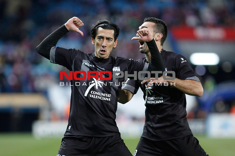 Levante¬¥s Pedro Rios (L) celebrates a goal during La Liga 2013-14 match at Vicente Calderon stadium, Madrid. December 21, 2013. Foto © nph / Victor Blanco)