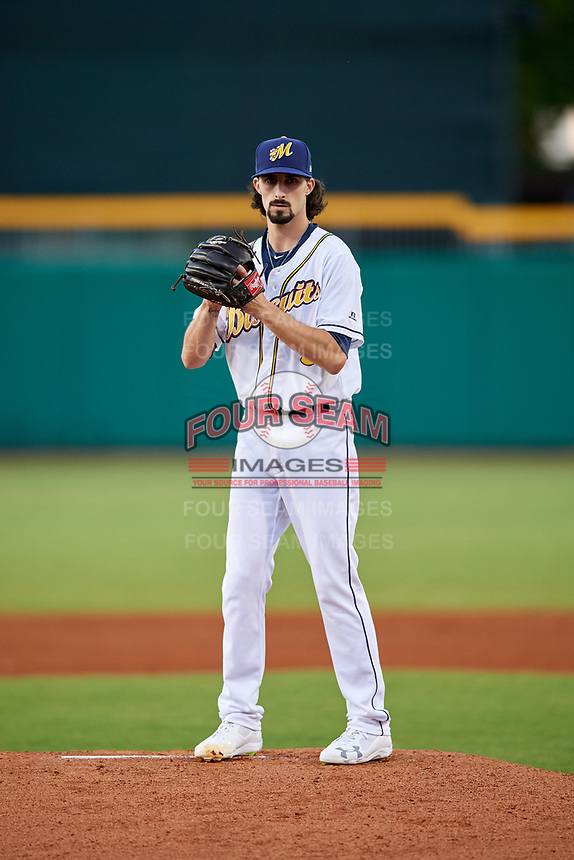 Montgomery Biscuits starting pitcher Hunter Wood (3) gets ready to deliver a pitch during a game against the Mississippi Braves on April 24, 2017 at Montgomery Riverwalk Stadium in Montgomery, Alabama.  Montgomery defeated Mississippi 3-2.  (Mike Janes/Four Seam Images)
