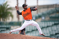 GCL Orioles pitcher Jose Alejandro (50) during a Gulf Coast League game against the GCL Braves on August 5, 2019 at Ed Smith Stadium in Sarasota, Florida.  GCL Orioles defeated the GCL Braves 4-3 in the first game of a doubleheader.  (Mike Janes/Four Seam Images)