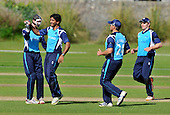 Cricket One Day International - Scotland V The Netherlands at Mannofield - Aberdeen - Scotland's Majid Haq (2nd left) celebrates a wicket with his team-mates - Picture by Donald MacLeod - 28.6.11 - 07702 319 738 - www.donald-macleod.com
