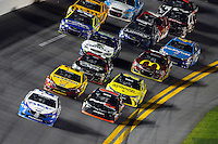12-13 February, 2016, Daytona Beach, Florida, USA<br /> Brad Keselowski leads as Denny Hamlin, FedEx Express Toyota Camry races back to the front.<br /> ©2016, F. Peirce Williams