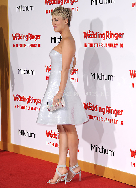 WWW.ACEPIXS.COM<br /> <br /> January 6 2015, LA<br /> <br /> Actress Kaley Cuoco-Sweeting arriving at 'The Wedding Ringer' World Premiere at the TCL Chinese Theatre on January 6, 2015 in Hollywood, California. <br /> <br /> <br /> By Line: Peter West/ACE Pictures<br /> <br /> <br /> ACE Pictures, Inc.<br /> tel: 646 769 0430<br /> Email: info@acepixs.com<br /> www.acepixs.com