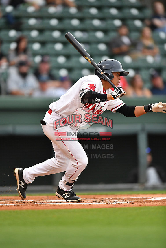 Catcher Isaias Lucena (19) of Greenville Drive bats in a game against the Asheville Tourists on Wednesday, May 3, 2017, at Fluor Field at the West End in Greenville, South Carolina. Greenville won, 8-0. (Tom Priddy/Four Seam Images)