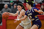 Highland guard Ellie Brown (left) dribbles as Civic Memorial guard Kourtland Tyus grabs for the ball. Highland played Civic Memorial in the Class 3A Effingham sectional championship game at Effingham High School in Effingham, Illinois on Thursday February 27, 2020. <br /> Tim Vizer/Special to STLhighschoolsports.com
