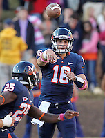 Oct. 22, 2011 - Charlottesville, Virginia - USA;  Virginia Cavaliers quarterback Michael Rocco (16) throws the ball to Virginia Cavaliers running back Kevin Parks (25) during an NCAA football game against the North Carolina State Wolfpack at the Scott Stadium. NC State defeated Virginia 28-14. (Credit Image: © Andrew Shurtleff