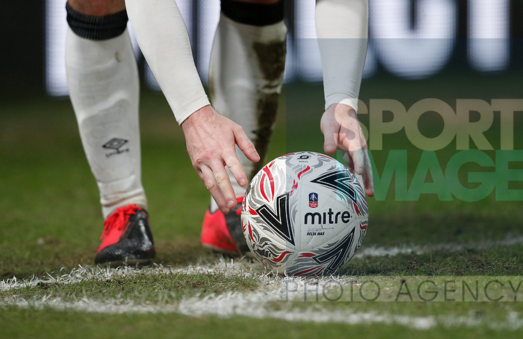 Wayne Rooney of Derby County places the ball for a corner kick during the FA Cup match at the Pride Park Stadium, Derby. Picture date: 4th February 2020. Picture credit should read: Darren Staples/Sportimage