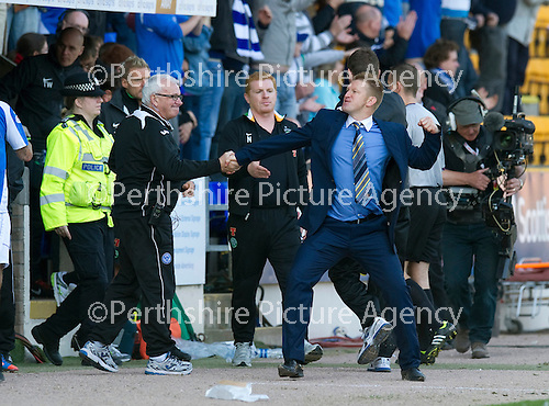 St Johnstone v Celtic....15.09.12      SPL  .St Johnstone manager Steve Lomas shows his delight at the final whistle.Picture by Graeme Hart..Copyright Perthshire Picture Agency.Tel: 01738 623350  Mobile: 07990 594431