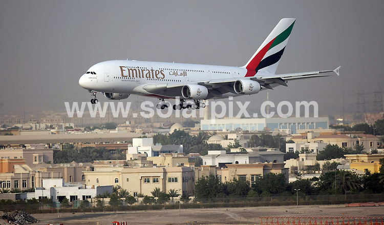 **ALL ROUND PICTURES FROM SOLARPIX.COM**.**WORLDWIDE SYNDICATION RIGHTS**.The Emirates 380 Airbus arrives for the first time at Dubai international airport, UAE. 29 July 2008..This pic: Emirates 380 Airbus..JOB REF: 8470 DBL     DATE: 29_07_2008.**MUST CREDIT SOLARPIX.COM OR DOUBLE FEE WILL BE CHARGED**.**ONLINE USAGE FEE  GBP 50.00 PER PICTURE - NOTIFICATION OF USAGE TO PHOTO @ SOLARPIX.COM**