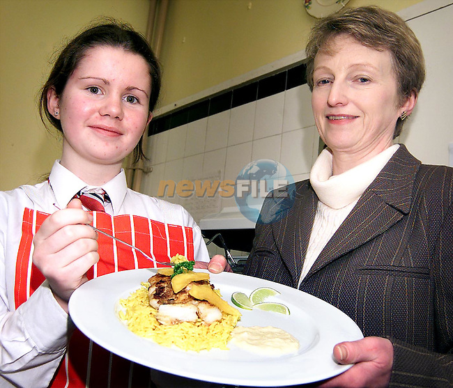 Criona Stokes, a fifth year student at Sacred Heart Secondary School who was the Louth winner of the B.I.M. All Ireland Schools Seafood Cookery Challenge 2001. Criona will now go on to the regional finals which will be held on Friday the 9th of February in Monaghan. Criona is pictured with Sacred Heart Deputy principal, Margaret Geraghty..Picture: Paul Mohan/Newsfile