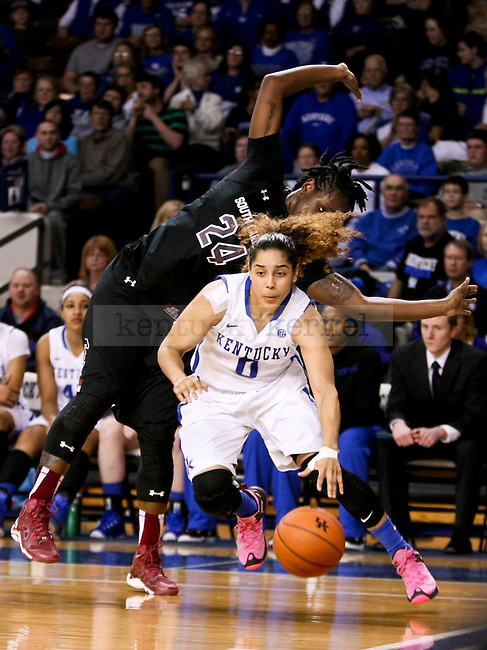 Kentucky guard Jennifer O'Neill drives to the basket during the second half of the UK vs. South Carolina at Memorial Coliseum in Lexington , Ky., on Sunday, March 1, 2015. Photo by Jonathan Krueger | Staff