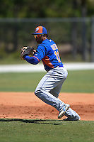 New York Mets Jhoan Urena (13) during practice before a minor league spring training game against the Miami Marlins on March 30, 2015 at the Roger Dean Complex in Jupiter, Florida.  (Mike Janes/Four Seam Images)