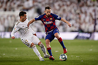 1st March 2020; Estadio Santiago Bernabeu, Madrid, Spain; La Liga Football, Real Madrid versus Club de Futbol Barcelona; Jordi Alba (FC Barcelona)  holds off the challenge from Vázquez of Madrid