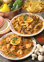 Mexican chicken and shrimp dishes.