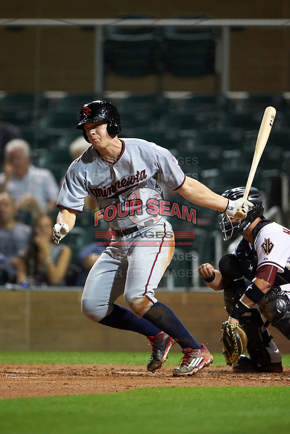 Scottsdale Scorpions catcher Stuart Turner (11) at bat during an Arizona Fall League game against the Salt River Rafters on October 13, 2015 at Salt River Fields at Talking Stick in Scottsdale, Arizona.  Salt River defeated Scottsdale 5-3.  (Mike Janes/Four Seam Images)