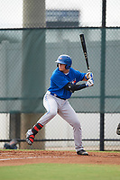 Toronto Blue Jays first baseman Kacy Clemens (23) at bat during an Instructional League game against the Philadelphia Phillies on September 30, 2017 at the Carpenter Complex in Clearwater, Florida.  (Mike Janes/Four Seam Images)