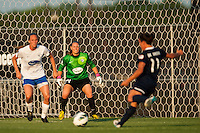 Boston Breakers goalkeeper Ashley Phillips (24) faces down Sky Blue FC forward Lisa De Vanna (11). Sky Blue FC defeated the Boston Breakers 5-1 during a National Women's Soccer League (NWSL) match at Yurcak Field in Piscataway, NJ, on June 1, 2013.
