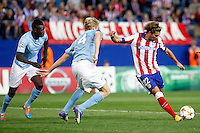 Alessio Cerci of Atletico de Madrid scores during Champios Legue soccer match between Atletico de Madrid V Malmoe al Vicente Calderon Stadium. October 22, 2014. (ALTERPHOTOS/Caro Marin)