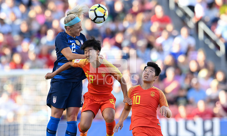 Sandy, Utah - Thursday June 07, 2018: Julie Ertz, Ren Guixin during an international friendly match between the women's national teams of the United States (USA) and China PR (CHN) at Rio Tinto Stadium.