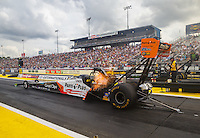 Mar 18, 2016; Gainesville, FL, USA; NHRA top fuel driver Clay Millican during qualifying for the Gatornationals at Auto Plus Raceway at Gainesville. Mandatory Credit: Mark J. Rebilas-USA TODAY Sports