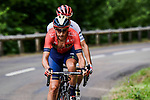 Dylan Teuns (BEL) Bahrain-Merida and Giulio Ciccone (ITA) Trek-Segafredo the remaining breakaway riders on La Planche des Belles Filles during Stage 6 of the 2019 Tour de France running 160.5km from Mulhouse to La Planche des Belles Filles, France. 11th July 2019.<br /> Picture: ASO/Pauline Ballet | Cyclefile<br /> All photos usage must carry mandatory copyright credit (© Cyclefile | ASO/Pauline Ballet)