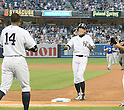 Ichiro Suzuki (Yankees),<br /> AUGUST 21, 2013 - MLB :<br /> Ichiro Suzuki of the New York Yankees is congratulated by his teammate Curtis Granderson after hitting his 4000th career hit in the first inning during the Major League Baseball game against the Toronto Blue Jays at Yankee Stadium in The Bronx, New York, United States. (Photo by AFLO)