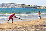 Family beach games, Compton Bay, Isle of Wight