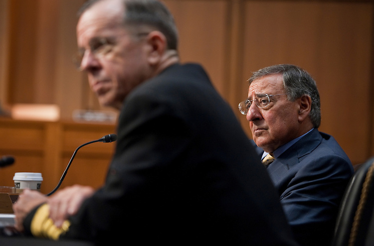UNITED STATES - SEPTEMBER 22:  Secretary of Defense Leon Panetta, right, and Chairman of the Joint Chiefs of Staff Adm. Mike Mullen, appear before a Senate Armed Services Committee hearing in Hart Building on U.S. strategy in Afghanistan and Iraq.  (Photo By Tom Williams/Roll Call)