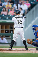 Ryan Raburn (16) of the Charlotte Knights at bat against the Durham Bulls at BB&T BallPark on May 16, 2017 in Charlotte, North Carolina.  The Knights defeated the Bulls 5-3. (Brian Westerholt/Four Seam Images)