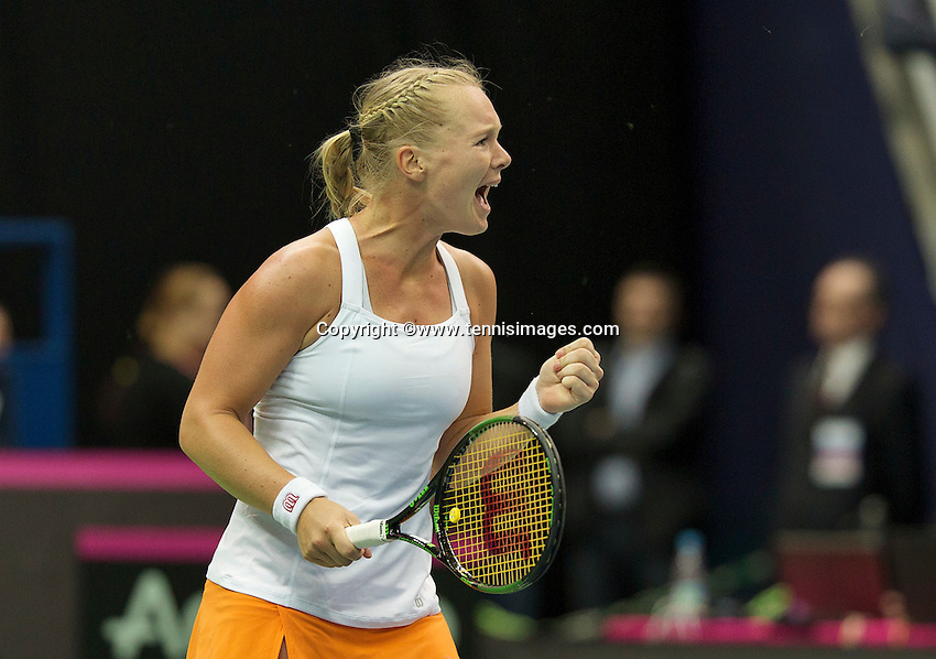 Moskou, Russia, Februari 4, 2016,  Fed Cup Russia-Netherlands, Kiki Bertens (NED) takes the first mach and jubilates her matchpoint and put Netherlands in a 1-0 lead<br /> Photo: Tennisimages/Henk Koster
