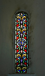 Victorian 19th century stained glass lancet decorative geometric pattern, window church of Saint Margaret, South Elmham, Suffolk, England, UK