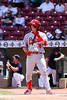 Peoria Chiefs third baseman Nolan Gorman (19) at the plate during a Midwest League game against the Cedar Rapids Kernels on May 26, 2019 at Perfect Game Field in Cedar Rapids, Iowa. Cedar Rapids defeated Peoria 14-1. (Brad Krause/Four Seam Images)