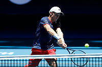5th January 2020; RAC Arena, Perth, Western Australia; ATP Cup Australia, Perth, Day 3; Italy versus Norway; Casper Ruud of Norway plays a volley at the net against Fabio Fognini of Italy - Editorial Use