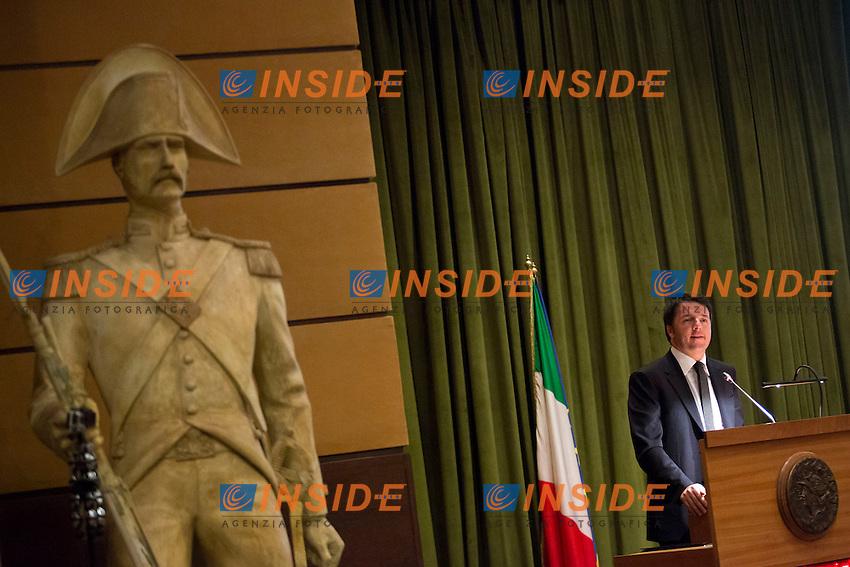 Matteo Renzi<br /> Roma 11-02-2015 Inaugurazione dell'Anno accademico della Scuola Allievi Ufficiali dei Carabinieri.<br /> Photo Samantha Zucchi Insidefoto