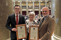 COURTESY PHOTO/Representative Deaton (left) with the Bearbowers on the floor of the House of Representatives.