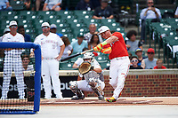 Sam Praytor (17) of Helena High School in Helena, Alabama during the home run derby before the Under Armour All-American Game presented by Baseball Factory on July 23, 2016 at Wrigley Field in Chicago, Illinois.  (Mike Janes/Four Seam Images)