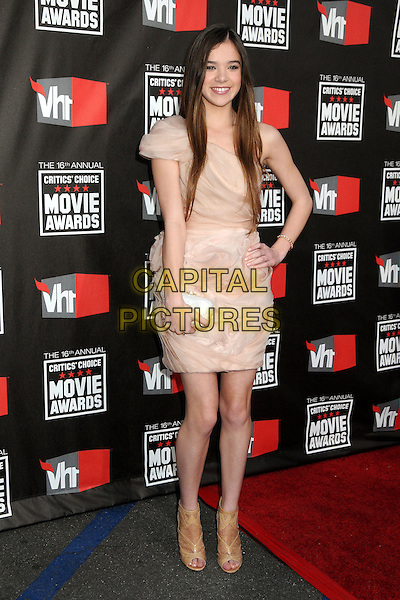 HAILEE STEINFELD .16th Annual Critics' Choice Movie Awards held at the Hollywood Palladium, Hollywood, California, USA, 14th January 2011..full length beige cream nude ruched one shoulder dress hand on hip clutch bag open toe booties shoes shooboots ankle boots beige .CAP/ADM/BP.©Byron Purvis/AdMedia/Capital Pictures.