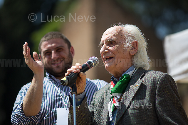 """Massimo Pradella (Antifascist Partizan. Member of the Partigiani: the Italian Resistance during WWII).<br /> <br /> Rome, 25/04/2018. Today, to mark the 73rd Anniversary of the Italian Liberation from nazi-fascism ('Liberazione'), ANED Roma & ANPI Roma (National Association of Italian Partizans) held a march ('Corteo') from Garbatella to Piazzale Ostiense where a rally took place attended by Partizans, Veterans and politicians – including the Mayor of Rome and the President of Lazio's Region. FOR THE FULL CAPTIONS PLEASE CHECK """"Photo Stories - 2010 to Today"""" 25.04.2018."""