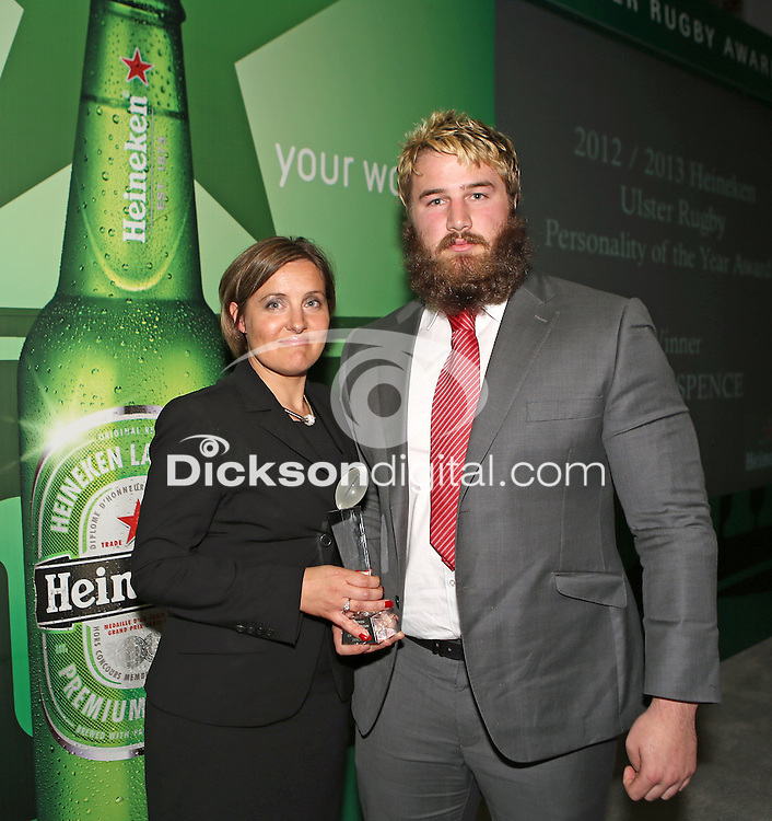 Friday 10th May 2013 - Leza Nulty, Commercial Manager of Heineken Northern Ireland presents the final award of the evening, the Heineken Ulster Rugby Personality of the Year Award - it went to Nevin Spence and was collected on behalf of the Spence family by Nevis's close friend Paddy McAllister at the end of the Ulster Rugby Awards Dinner held in The Aquinas Grammar School Belfast on Friday evening. Photo Credit : John Dickson / DICKSONDIGITAL