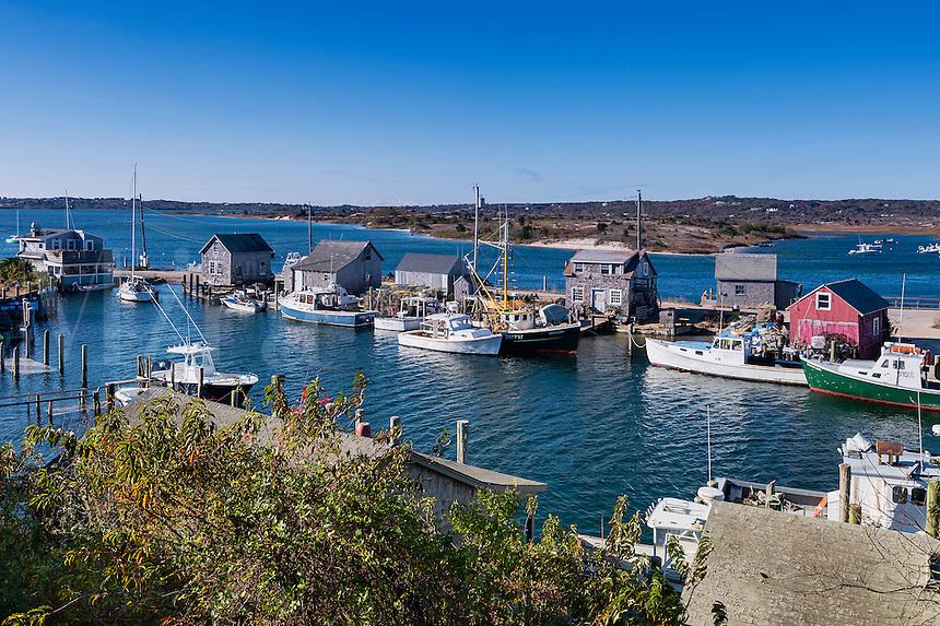 Overview of fishing shacks and boats in the village of Menemsha, Chilmark, Martha's Vineyard, Massachusetts, USA